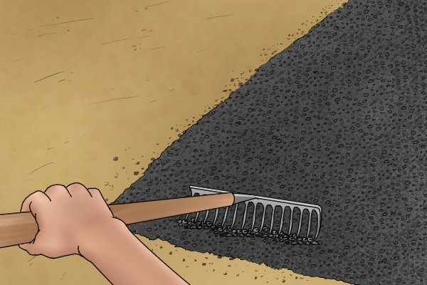 Tarmac rakes are strong enough to move stones and asphalt