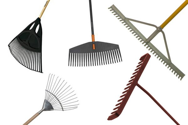 Rakes are common garden tools used for breaking up soil and other jobs