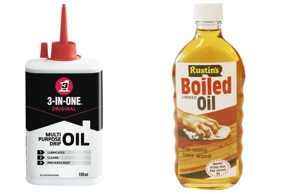 You can use linseed oil to protect wood and general purpose oil to protect steel