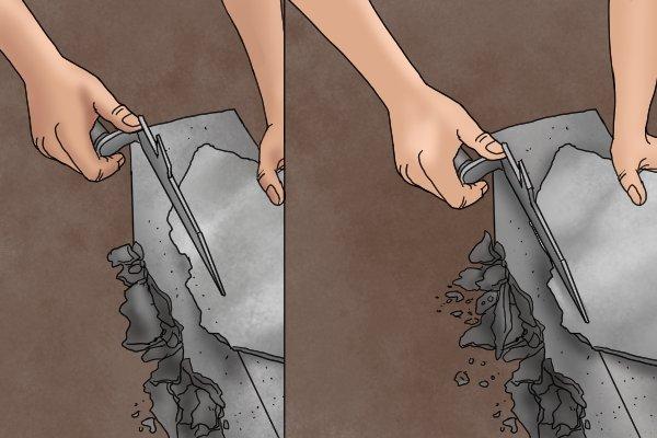 Trim slate by cutting it a bit at a time