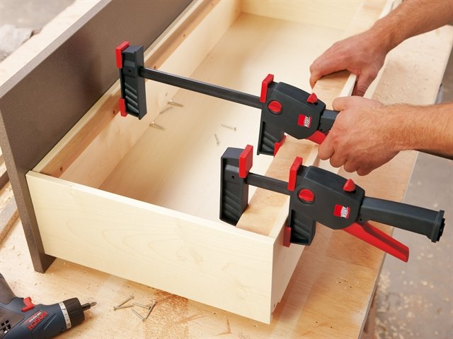 Some clamps have a lever to adjust the jaws