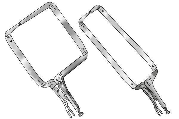 Locking clamps may have jaws of different shapes and sizes