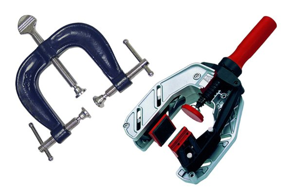 An edging clamp is used for specific and awkward applications on edges