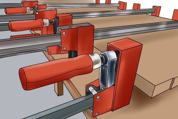 An F clamp is often used for gluing