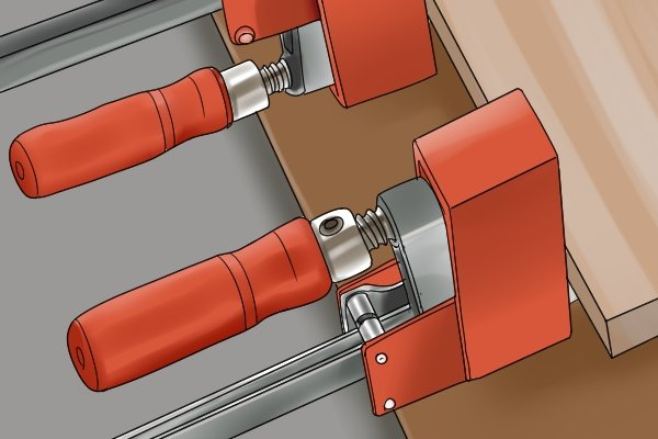 F clamps used for gluing wood
