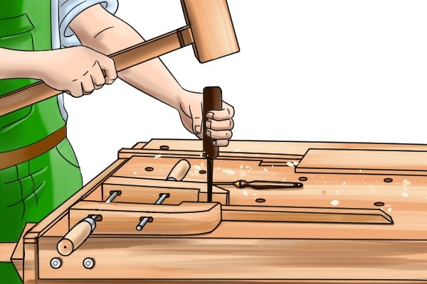 A hand screw clamp can be used for many woodworking applications