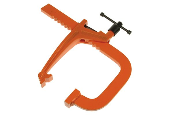 A rack clamp is used for heavy-duty metalworking