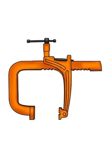 Standard rack clamps have a frame which extends into a J shape