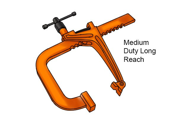 Medium-duty long reach rack clamp