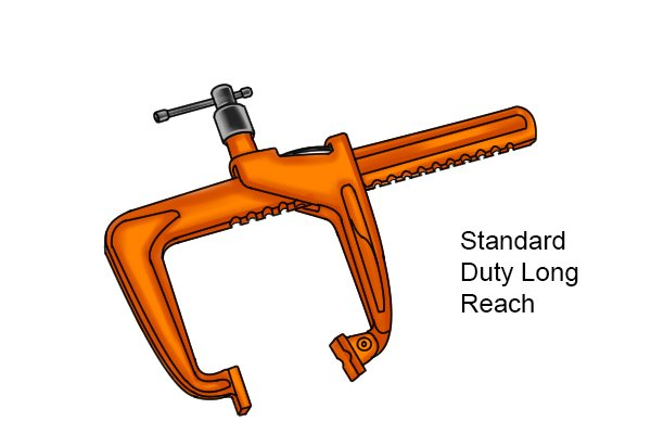Standard-duty long reach rack clamp