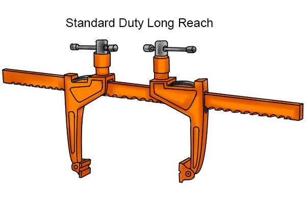 Standard-duty long reach bar rack clamp