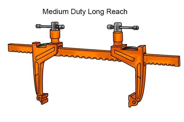 Medium-duty long reach bar rack clamp