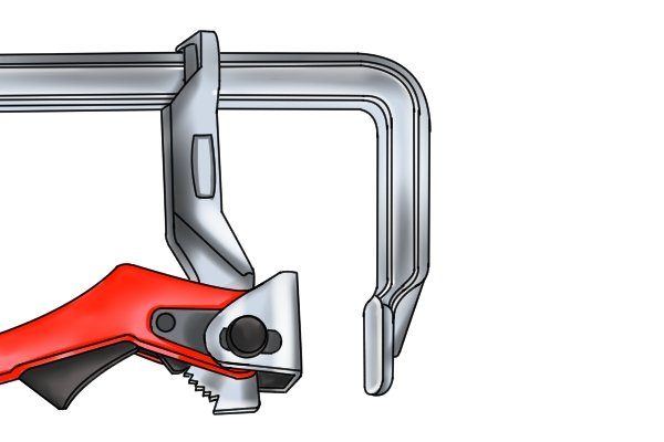 A lever clamp has two jaws