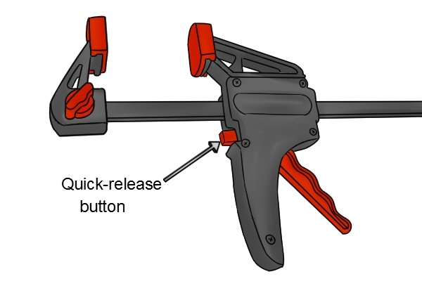 A trigger clamp will have a quick-release button to adjust the jaws