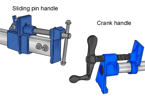 A bar clamp can have either a sliding pin handle or a crank handle