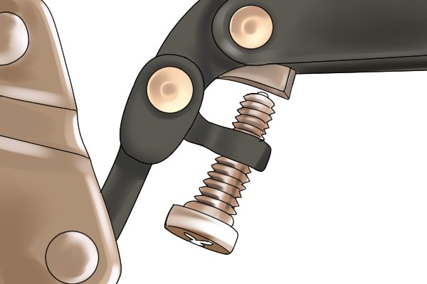 The screw can apply additional pressure from the jaws when rotated