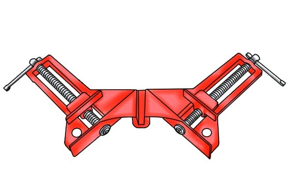 A double screw angle clamp has two jaws which can be adjusted independently