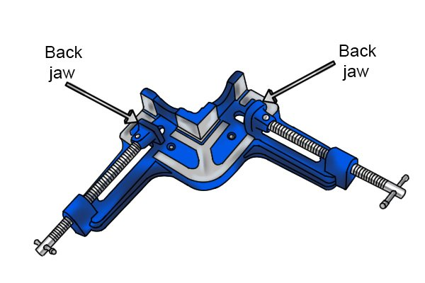 A double screw angle clamp has two back jaws