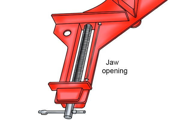Double screw angle clamp jaw opening