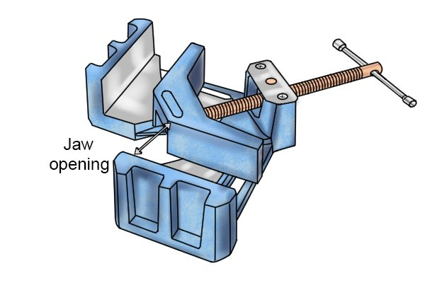 Welding angle clamp jaw opening