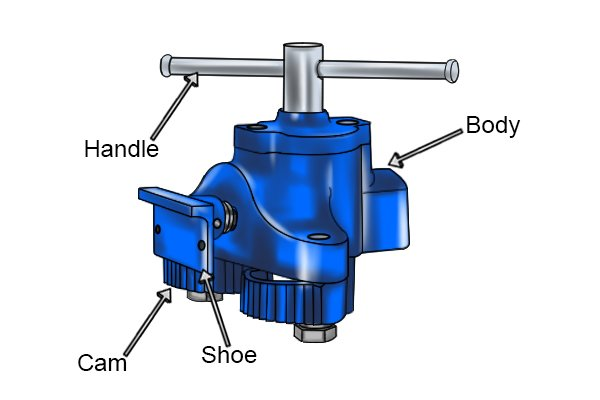 Parts of a heavy-duty flooring clamp