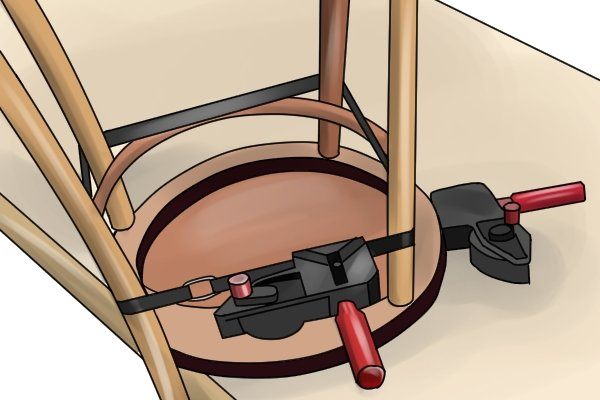 Using a band clamp for furniture