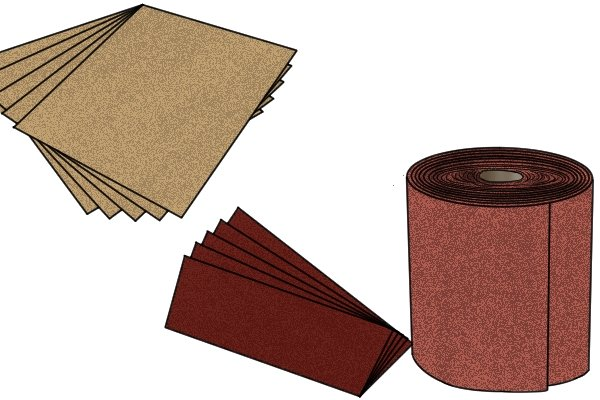 Sandpaper is available in squares, rolls or pre-cut pieces