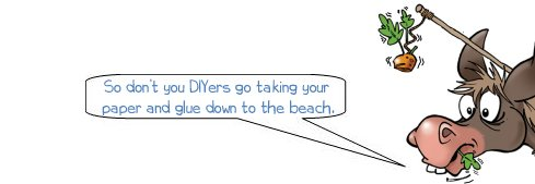 Donkee says 'Don't you DIYers take your paper and glue down to the beach'