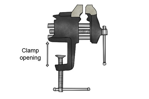 Opening width of a vice clamp