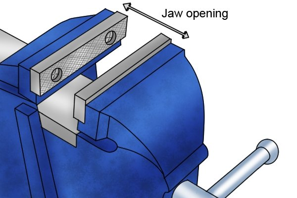 The opening capacity of the vice jaws