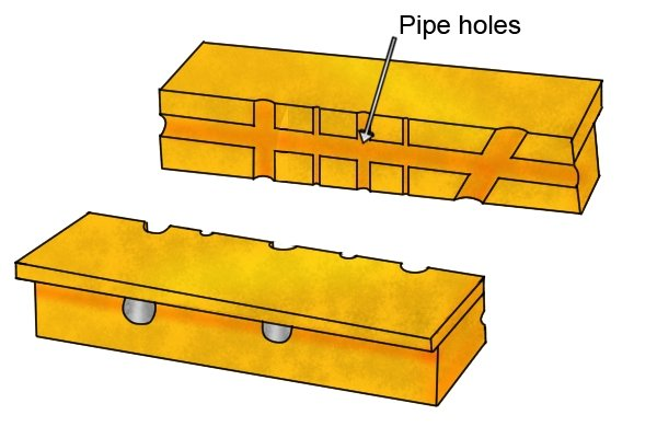 Plastic jaw pads with pipe holes