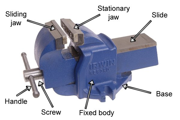 What are the parts of a metalworking vice?
