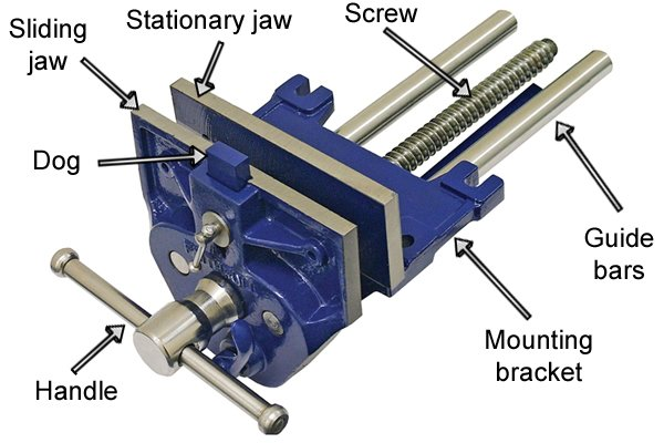 What are the parts of a woodworking vice?