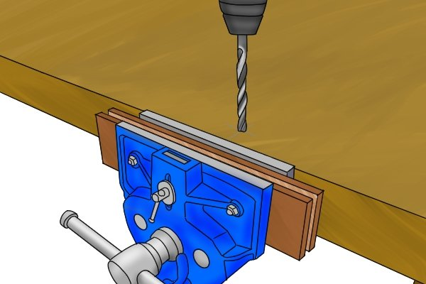 drilling with a woodworking vice