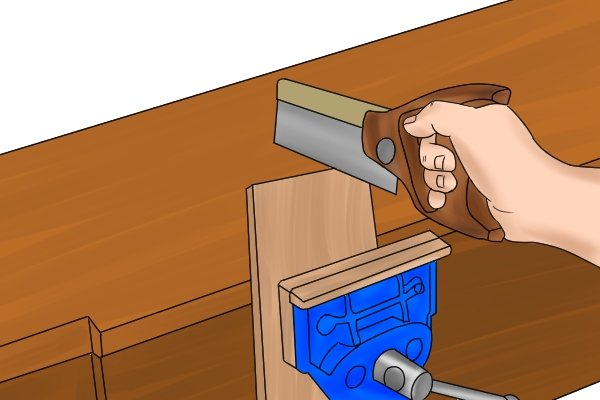 sawing with a woodwork vice