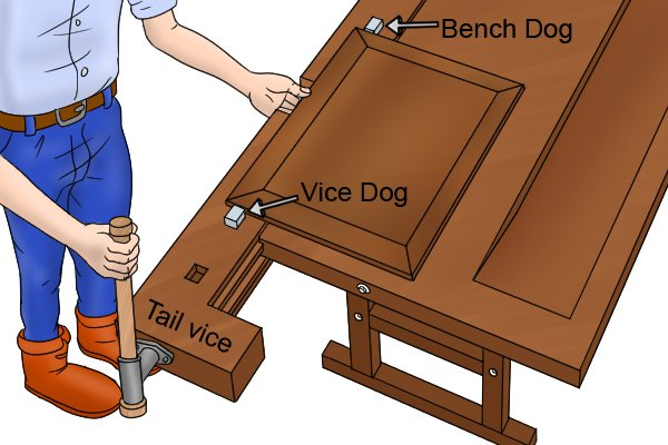 tail vice clamping wood with bench dog