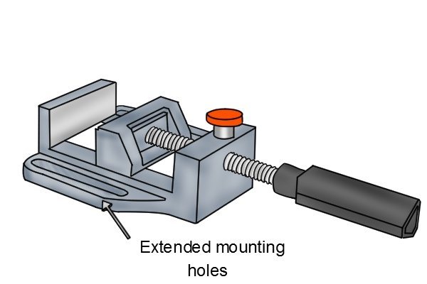 drill press vice extended mounting holes