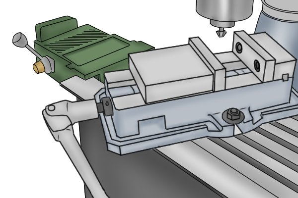 milling vise on milling machine table