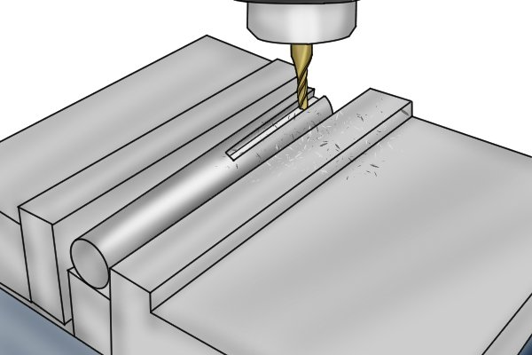 vice holding metal for milling
