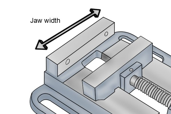 drill press vice jaw width