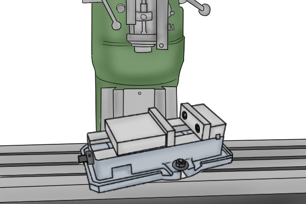 milling vice on milling table