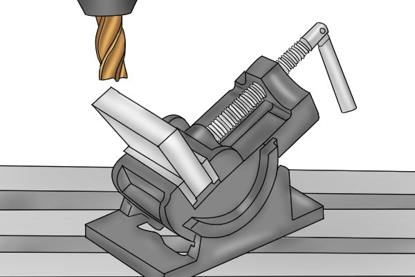 angle vice holding metal for milling