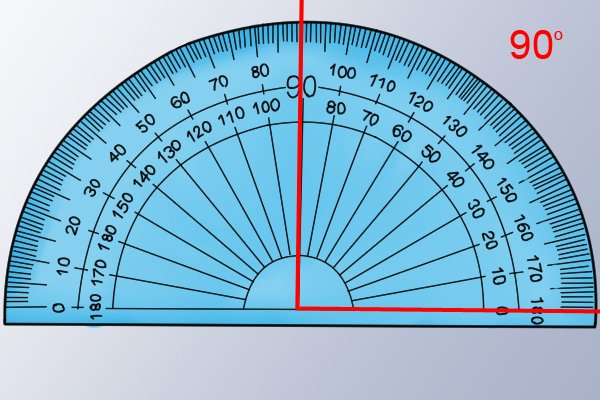 protractor and a 90 degree angle