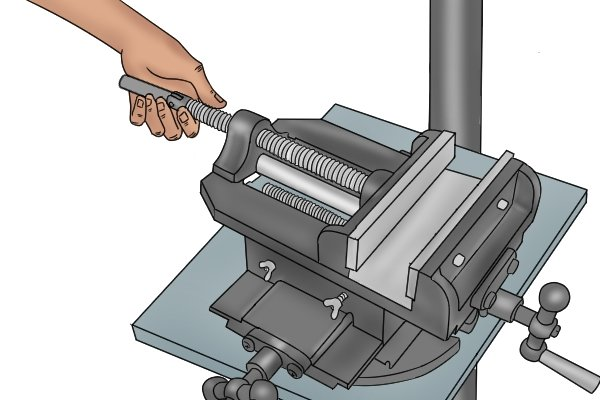 rotating a cross slide vice handle