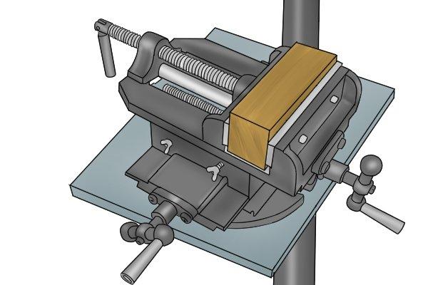 workpiece in cross slide vice