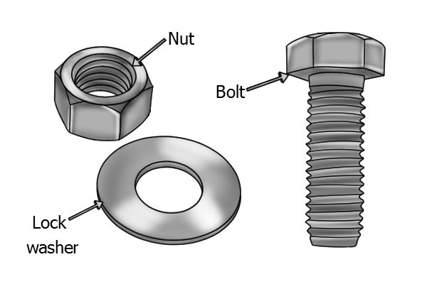 bolt nut and lock washer
