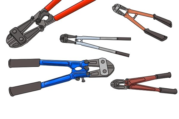 A variety of different-coloured and different-sized bolt cutters