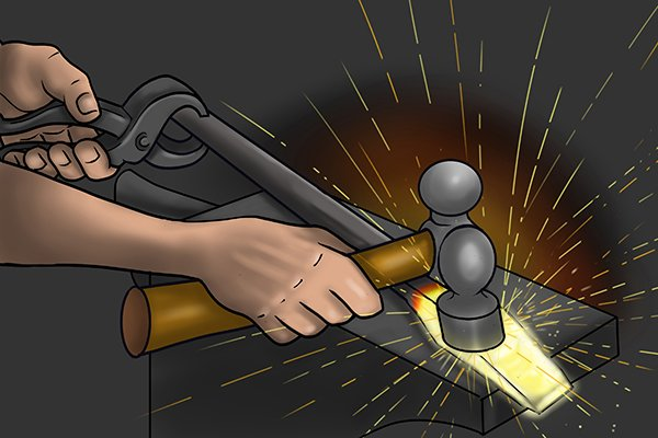 Man hammering heated metal bar to make early bolt cutters
