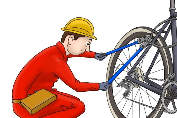 Thief in hood using bolt cutters to cut lock and steal bike