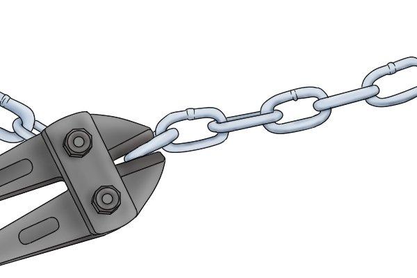 Bolt cutter jaws biting through metal chain